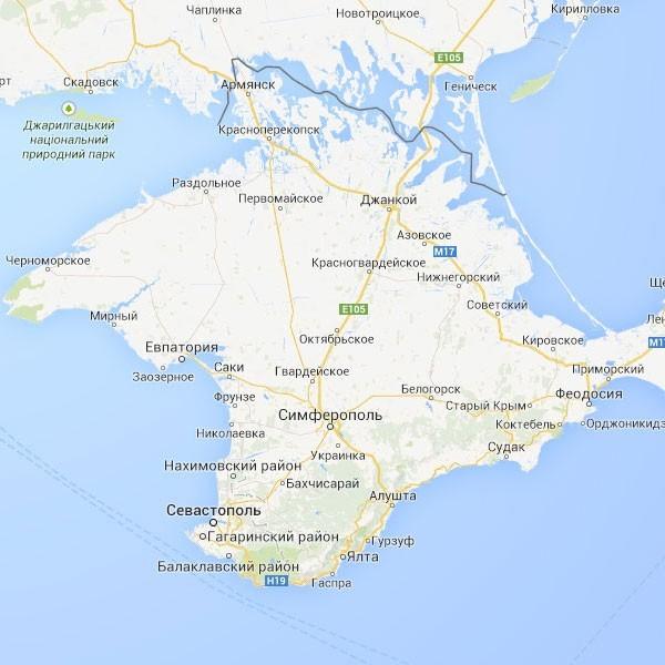 Граница между Крымом и Украиной на Google Maps
