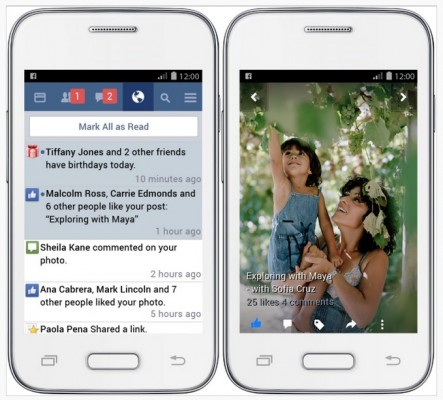 Скриншоты Facebook Lite