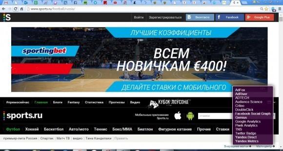 Сайт спортивных новостей «вживляет» в браузер сразу 14 самостоятельных фрагментов исполняемого кода – фактически приложений, о большинстве которых пользователь ничего не знает (данные получены благодаря сервису www.ghostery.com)