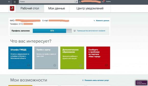 Московский портал госуслуг позволяет собирать данные о посетителе счётчику статистики и рекламной сиcтеме