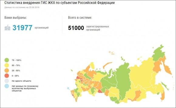 Карта внедрения ГИС ЖКХ на 29 июня 2016 года