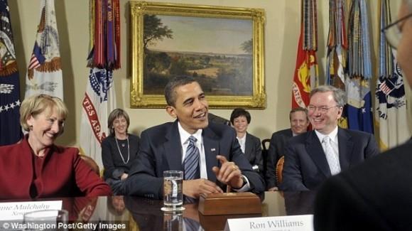 Одна из встреч с Бараком Обамой, на которой присутствовал Эрик Шмидт.