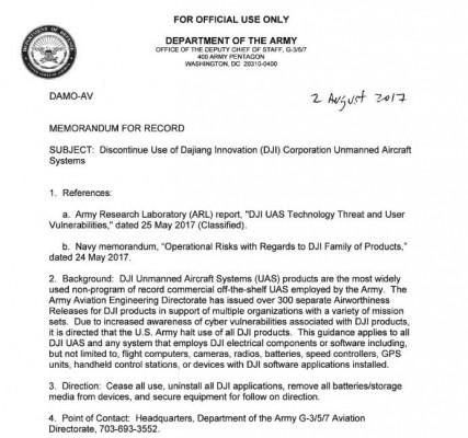 В армии США запретили использование китайских дронов из-за уязвимости