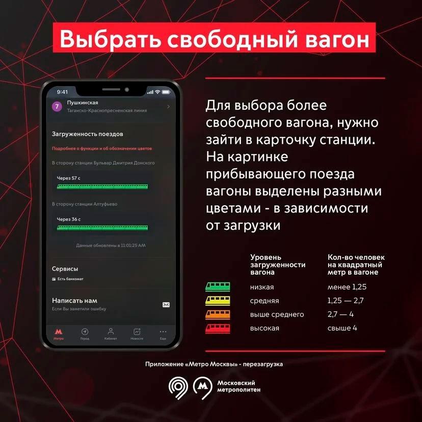 Приложение «Метро Москвы» обзавелось чат-ботом и научилось показывать загруженность вагонов