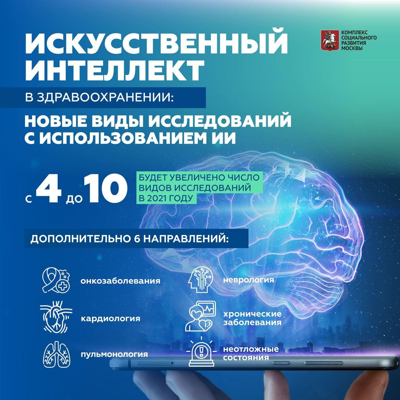 Власти Москвы решили расширить до 10 число медицинских применений ИИ